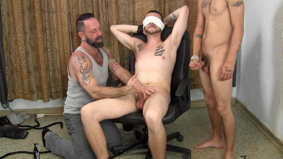 Blindfolded gay hunk teased with cock 8