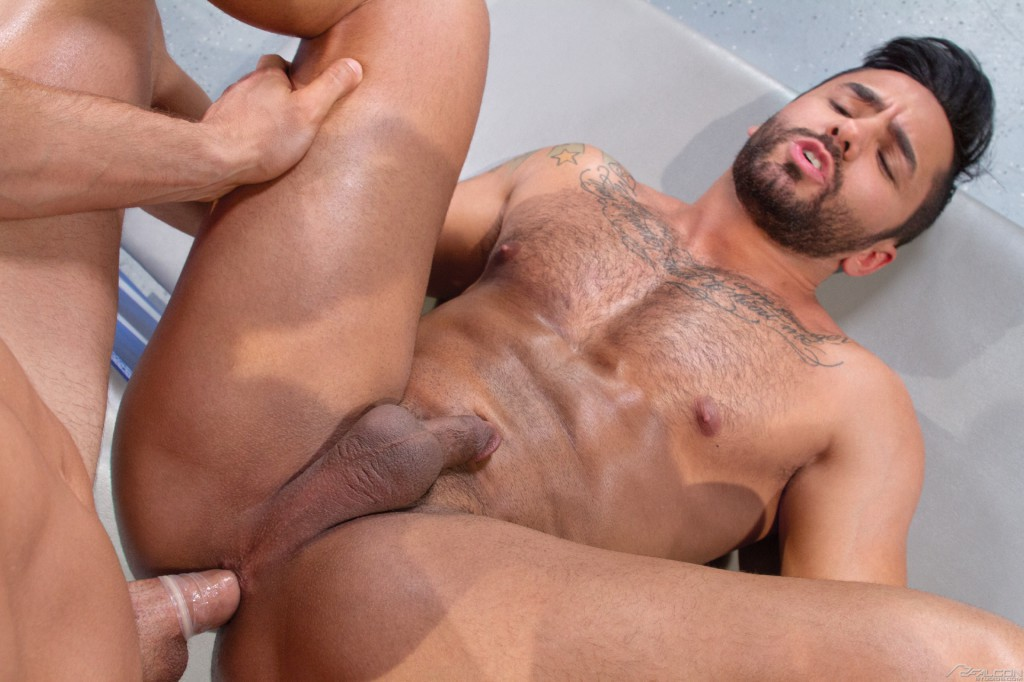 image Muscle hunk gangbanged raw in the zipper club
