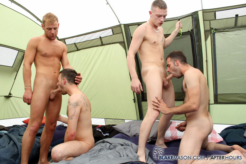 4 Campers Suck Dick In Tent - Gaydemon-4095