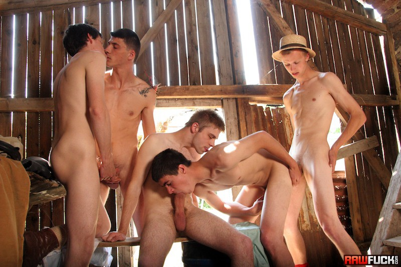 5 Farm Boys Fucking In Barn - Gaydemon-2347