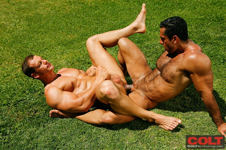 image Naked hairy men ejaculating when a wild