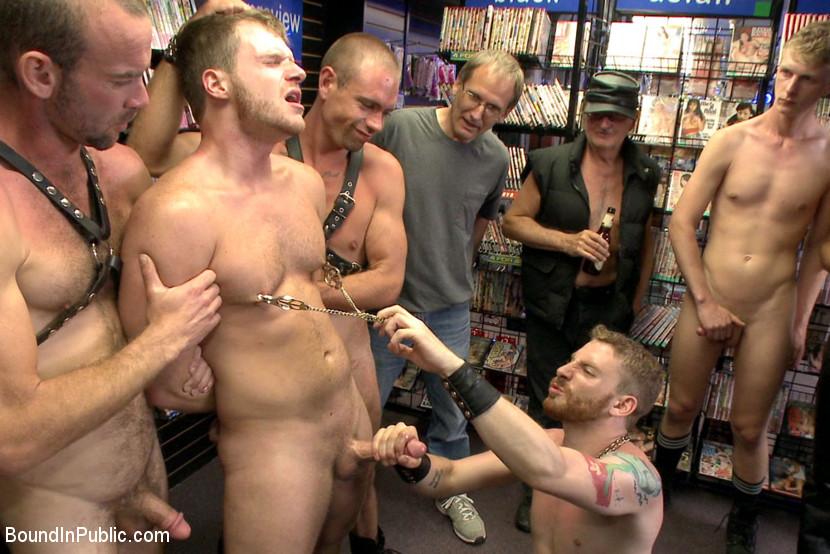 Public bound gay porn
