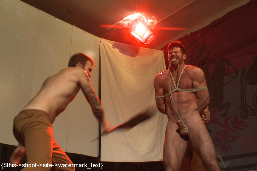 Hot fucking scene with three patrons at the gay bar
