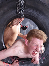 Video: ginger bottom levi gets pushed through tire and fucked