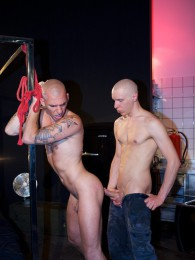 Video: mika handcuffed to chair and skinhead shaves his head