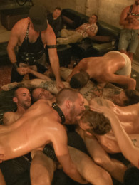 Video: gay slut tied up and fucked by crowd of men
